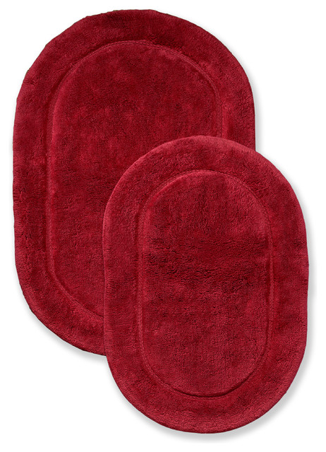 Superior Collection Luxurious Cotton Oval Bath Rug Set Of Two, Burgundy