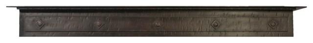 "Iron Mantel in Distressed Black Copper Finish, 48""x6.25"""