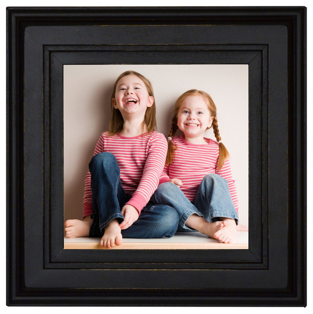 Square Black Picture Frame 8x8 Solid Poplar Wood With Glass And Hanging Hardwa