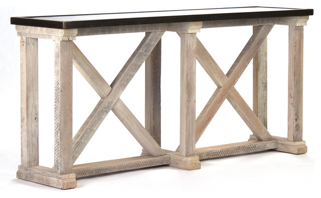 Charmant Valerya Zinc Top Chunky Rustic Solid Wood Console Table