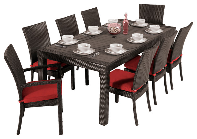 deco 9 piece dining set - contemporary - outdoor dining sets -