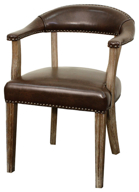 Bernadette Bonded Leather Chair With Drift Wood Legs, Vintage Coffee.