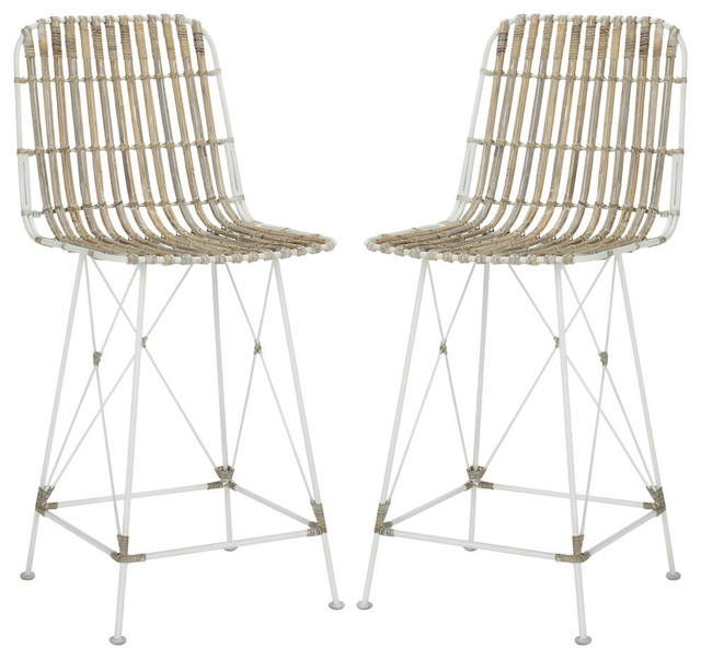 Minerva Wicker Counter Stool, Set Of 2, White/white.
