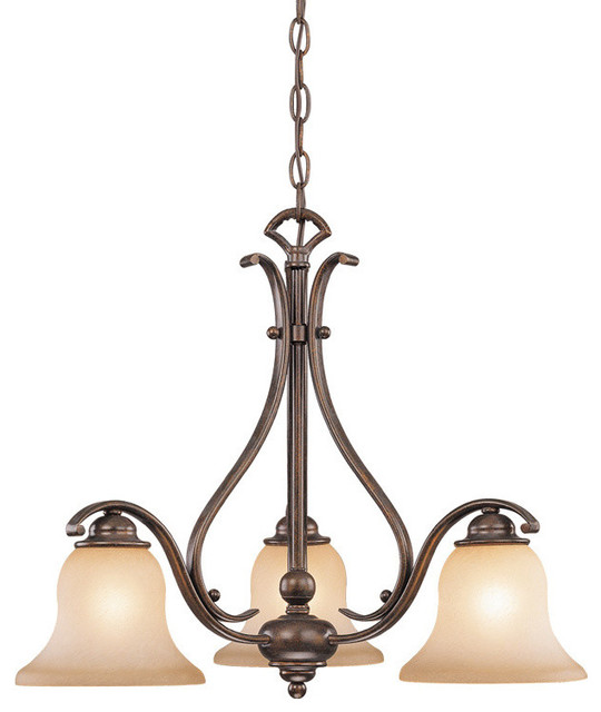 Chandelier Monrovia Collection, Royal Bronze and Brushed Cognac