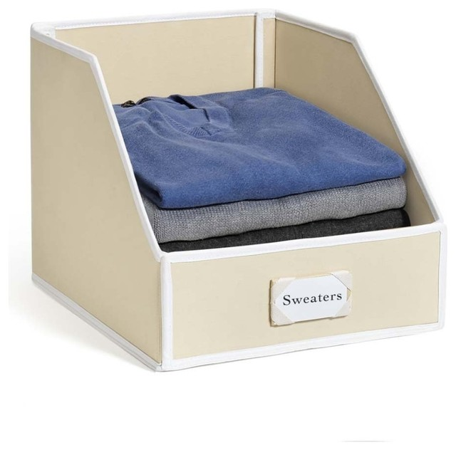 Collapsible Clothing Storage Bin With Flip Down Front Panel   Contemporary    Storage Bins And Boxes   By Great Useful Stuff