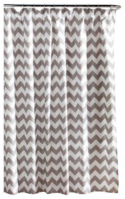 Fastfurnishings Gray And White Chevron Polyester Fabric Shower Curtain 72x72 Inch Shower