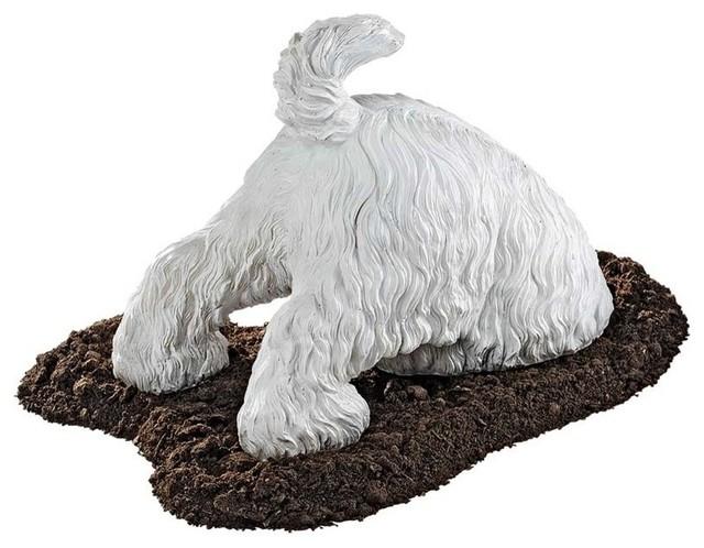 Highland Terrier Digging Dog Statue Contemporary Garden