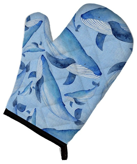 Watercolor Nautical Whales Oven Mitt