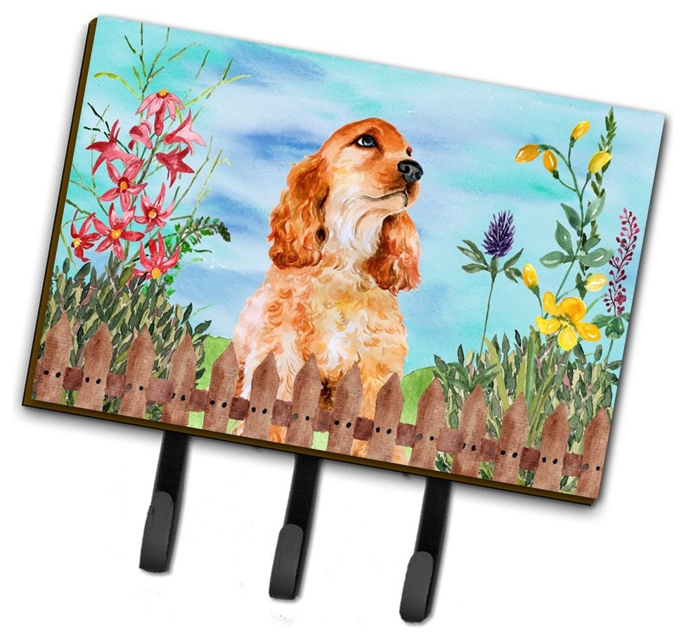 Cocker Spaniel Spring Leash Or Key Holder Ck1268th68 Contemporary Wall Hooks By The Store
