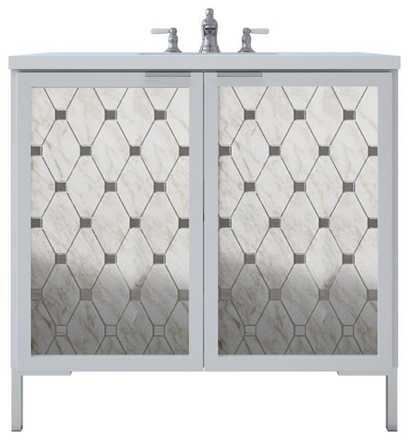 "Freestanding Bathroom Vanity, Marble Mosaic, Mirror Insert, 36"", White Gloss."