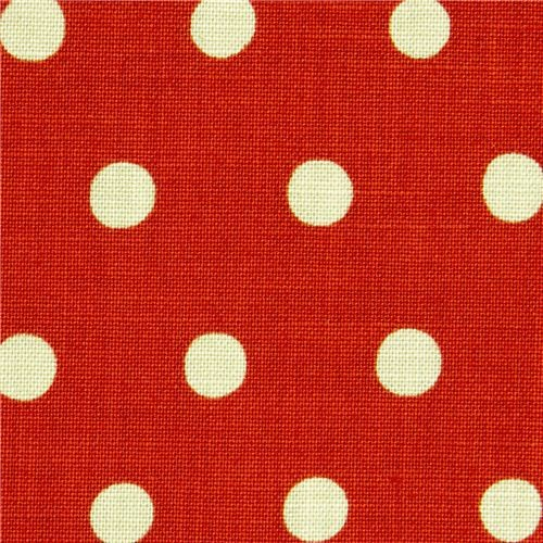red echino canvas fabric with turquoise polka dots
