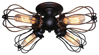 Burst 4-Light Ceiling Fixture, Black