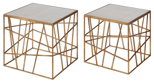 Uttermost 24687 Karkin Antiqued Gold Accent Tables Set Of 2  Contemporary Side Tables
