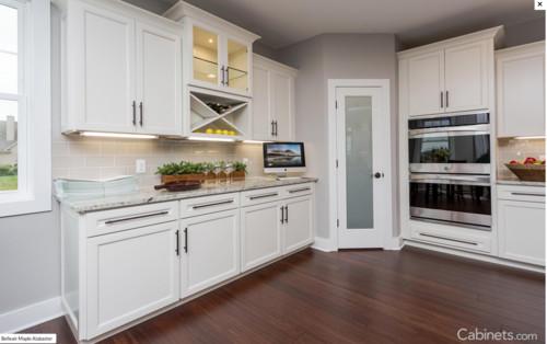 Quartz master white aran or alaskan white with sw for Alabaster white kitchen cabinets