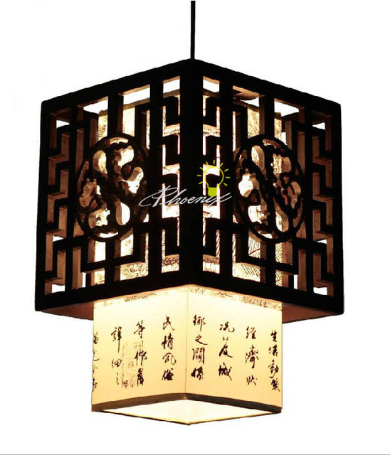 Chinese Carved Wooden Pendant Lighrting