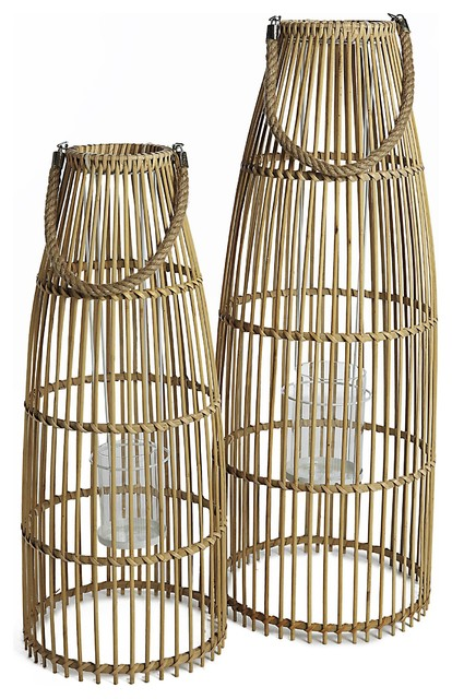 Natural Bamboo Lanterns With Glass Candle Holders, 2-Piece Set