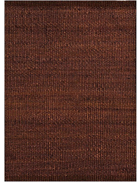 Handwoven Jute Rug, Dark Brown, 5&x27;x8&x27;.