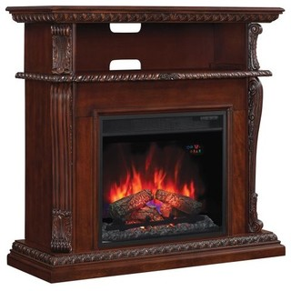 """Corinth Wall, Corner TV Stand With 23"""" IR Qtz. Fireplace, Vintage Cherry - Traditional - Indoor ..."""