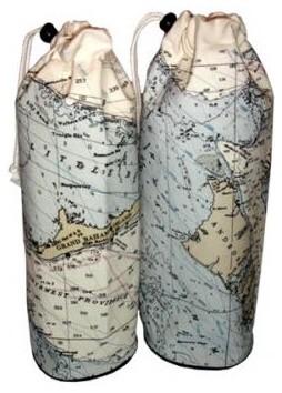 Nautical Custom Chart Wine Bottle Bag