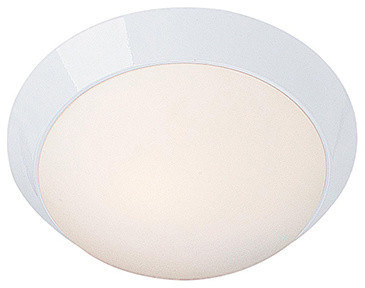 "Cobalt Led Outdoor Flush Mount, White Finish, Opal Glass Shade, 13""."