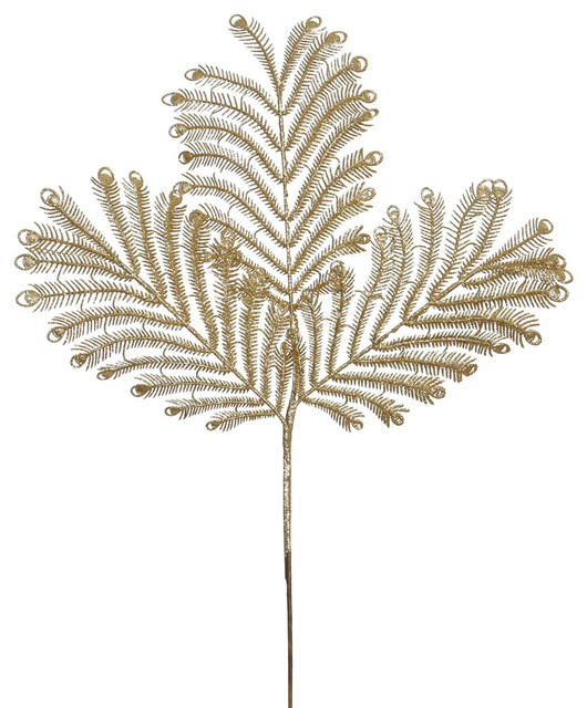"Artificial Christmas Tree Spray: Vickerman 22"" Gold Glitter Peacock Tail Artificial"