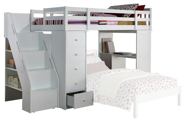 Remarkable Freya Loft Bed And Bookshelf Set White Twin 66 Pdpeps Interior Chair Design Pdpepsorg