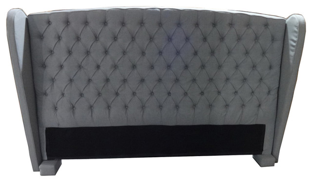 denise austin home lille king california king tufted fabric wingback headboard