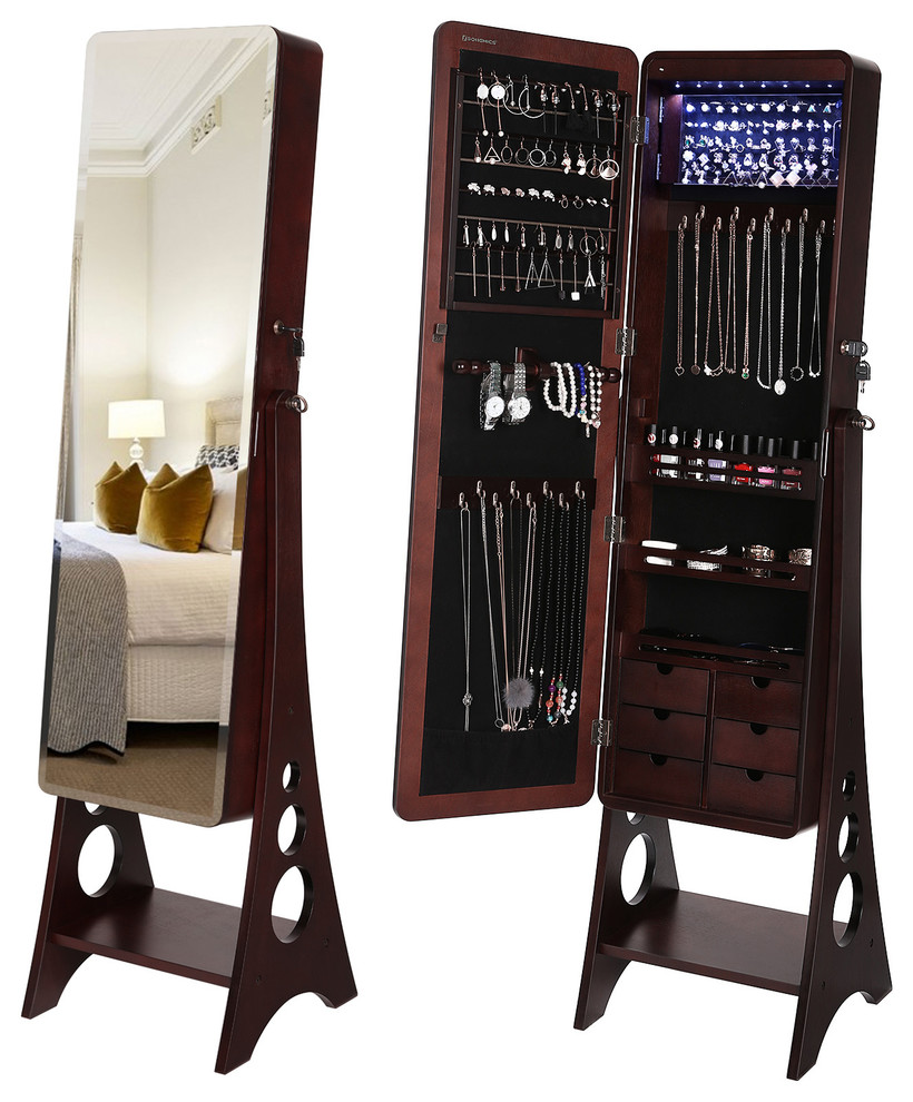 8 LEDs Jewelry Cabinet Armoire With Beveled Edge Mirror ...