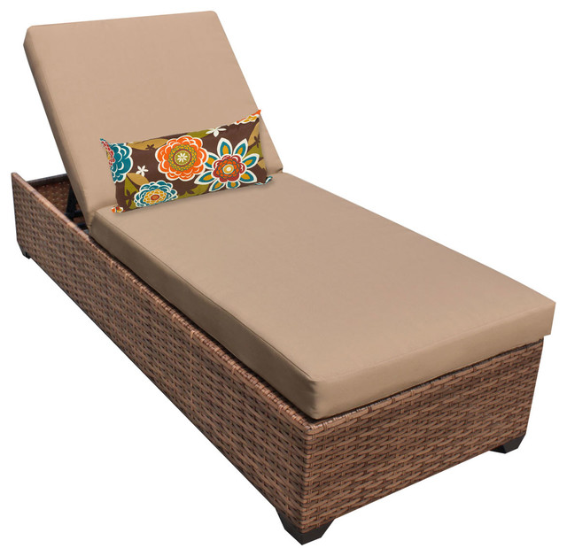 Tuscan Outdoor Wicker Chaise, Wheat, Single Chaise.