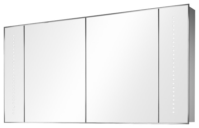 Wide Mirrored 2-Door Bathroom Cabinet With LED Lights, With Shaver Socket