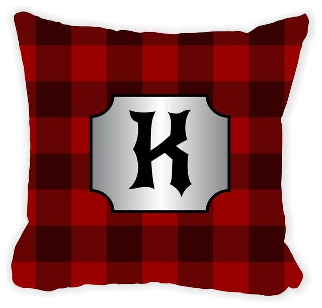 Letter K Lumberjack Burgundy Plaid Monogram Microfiber Throw Stunning Monogrammed Decorative Throw Pillows