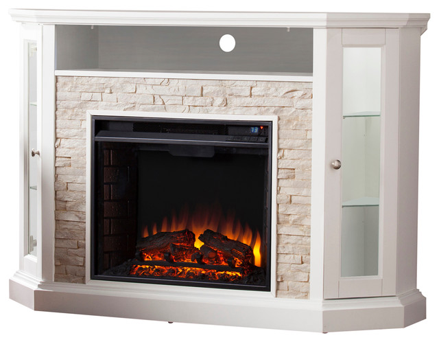 Mikael Corner Convertible Electric Media Fireplace.