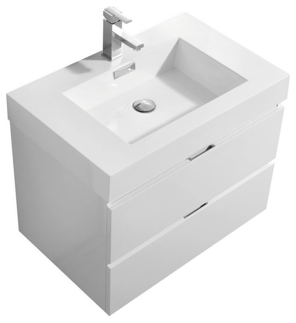 Bliss 30 Wall Mount Modern Bathroom Vanity Kubebath Modern Bathroom Vanities And Sink Consoles By Us Bathroom Store Houzz