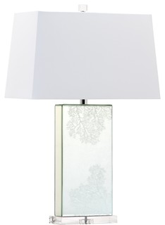 28 Coral Etched Rectangle Mirror With Crystal Base Table Lamp