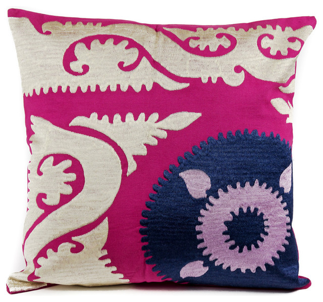 Pink Suzani Crest Pillow.