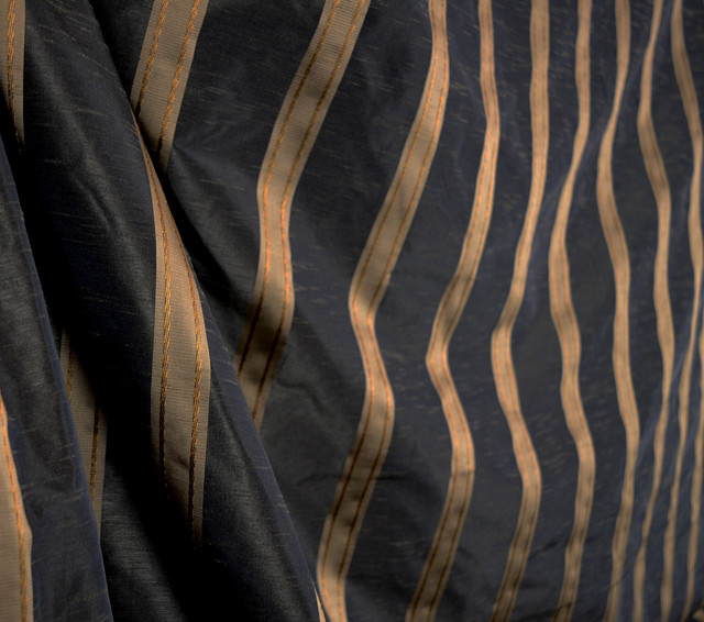 Black Brown Gold Striped Polyester Curtain Fabric Swavelle Icarus Jet Contemporary Drapery