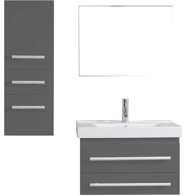 "Antonio 29"" Single Bathroom Vanity Set, Gray, Brushed Nickel Faucet."