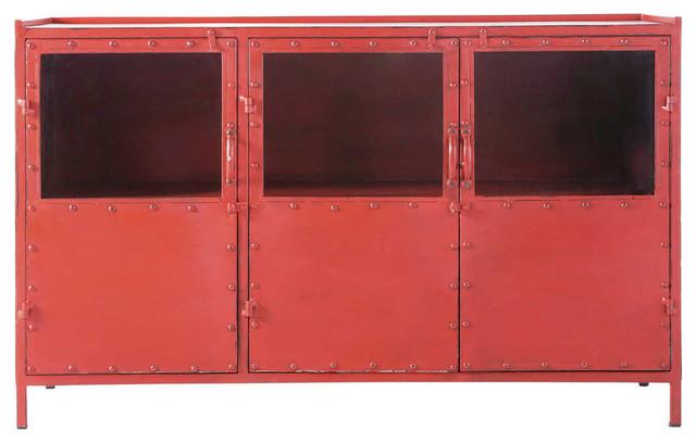 Credenza Con Vetrina In Stile : Credenza rossa con vetrine stile industriale in metallo l 130 cm