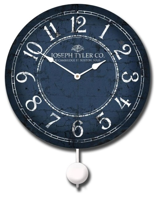 Balton Blue Pendulum Clock Contemporary Wall Clocks By Clocks Around The World