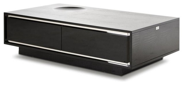Grand Modern Crocodile Lacquer Coffee Table With Drawers