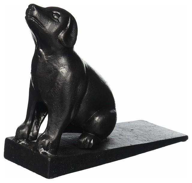 Lulu Decor Doorstops Weight 5 Lbs Cast Iron Dog Door Stopper Black