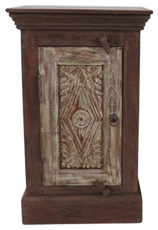 factory price 9061b 6f19d White Wash Carved Bedside Cabinet