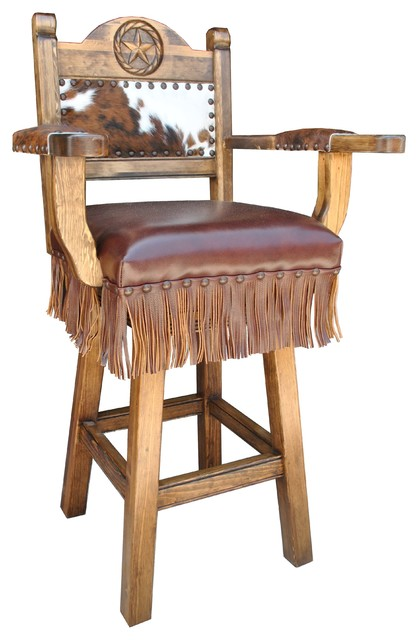 Texas Western Deluxe Swivel Bar Stool Arms Counter Height