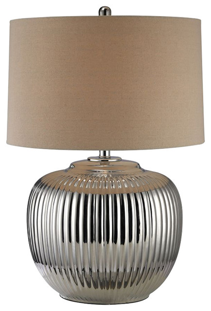 Dimond Trump Home Oversized Ribbed Ceramic LED Table Lamp In Silver  D2640 LED