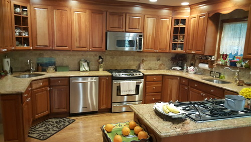 modernize country kitchen cabinets cosmetically?
