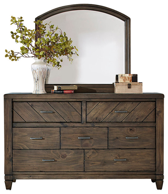 7-Drawer Dresser And Mirror With Solid Spruce Pine Wood And Smokey Pewter.