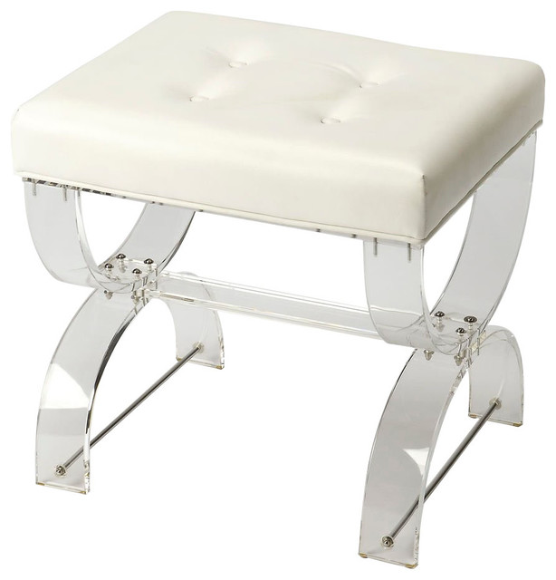 Awe Inspiring Offex Modern Rectangular Acrylic Vanity Stool White Pabps2019 Chair Design Images Pabps2019Com