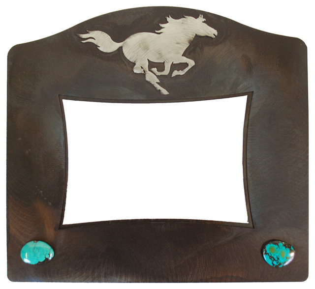 Rustic Iron Picture Frame With Horse Inlay And Stones, 8x10 - Rustic ...