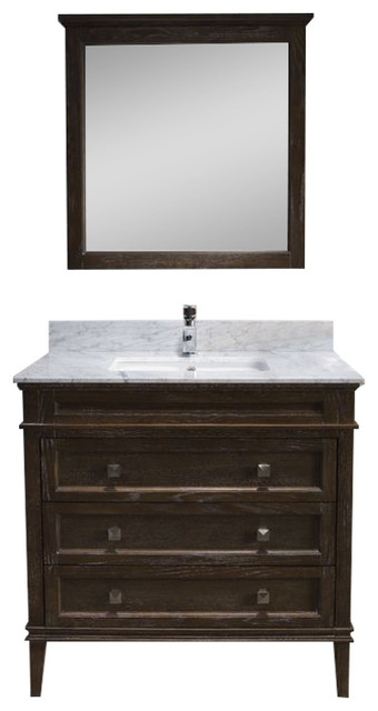 BHI Bath Bordeaux 36 Vanity Set With Carrara Marble Top Black Red Oak