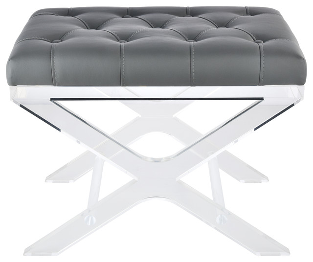 """24"""" Tufted Synthetic Leather Bench, Gray. -1"""